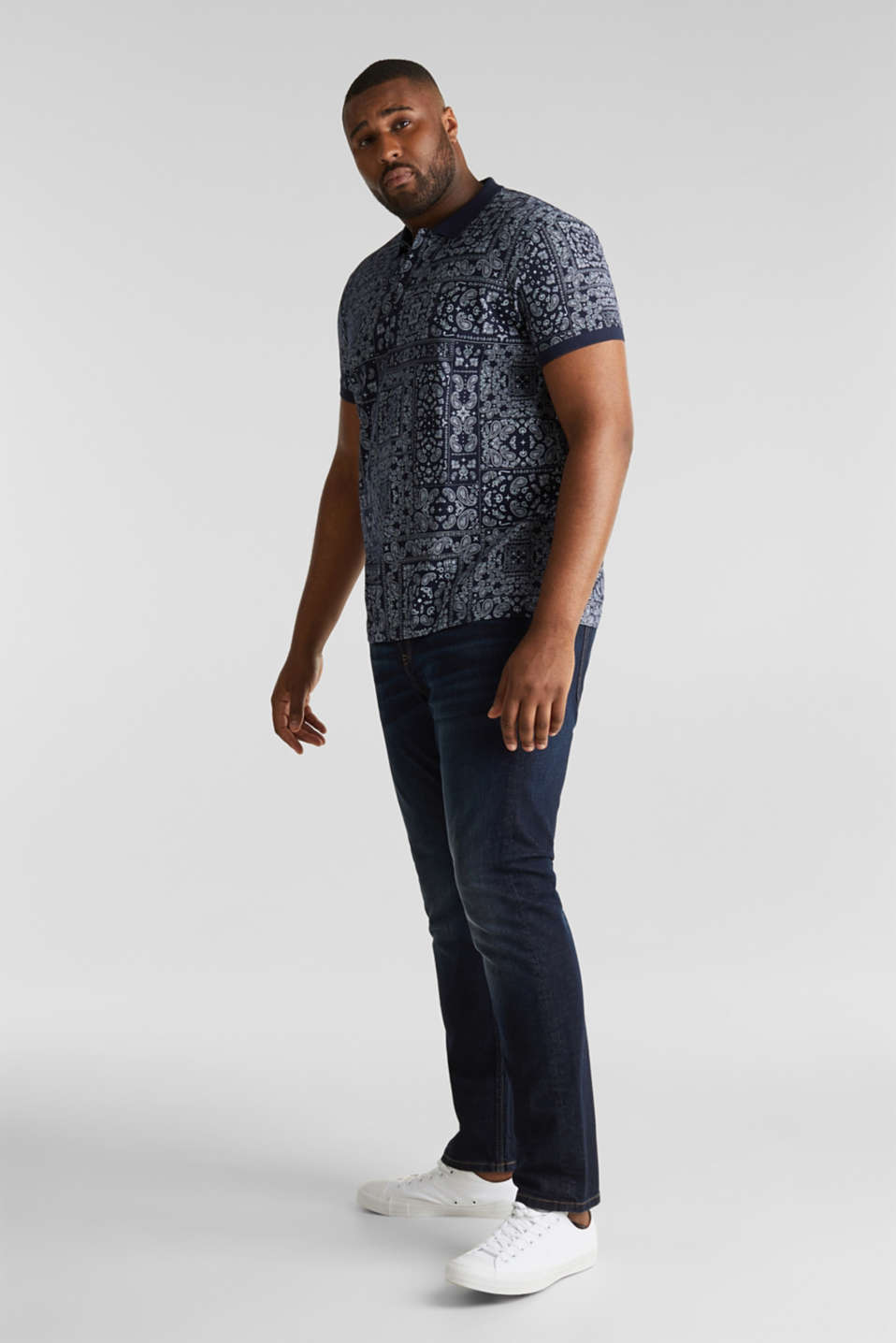Jersey polo shirt with a bandana print, 100% cotton, NAVY 4, detail image number 2