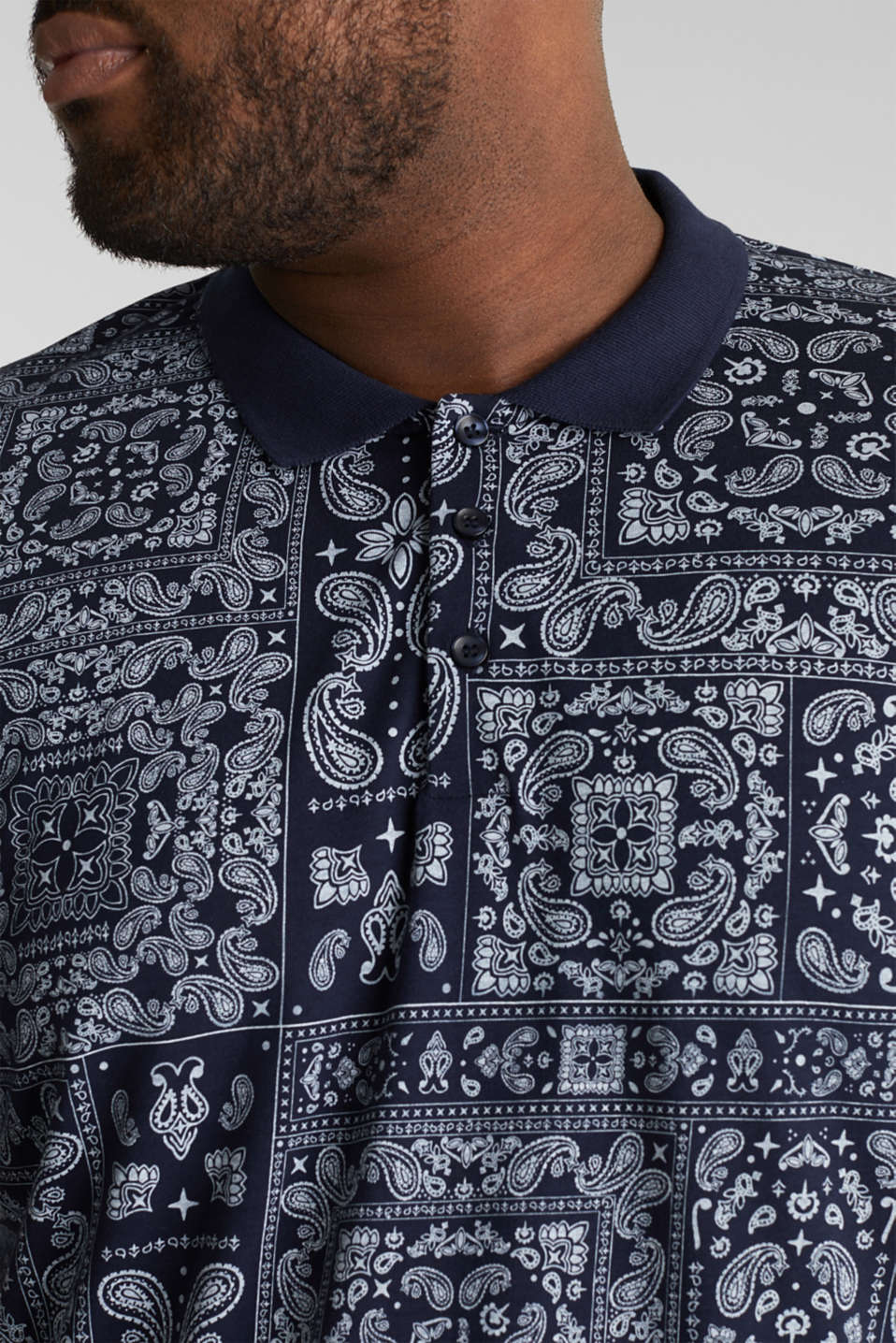 Jersey polo shirt with a bandana print, 100% cotton, NAVY 4, detail image number 1