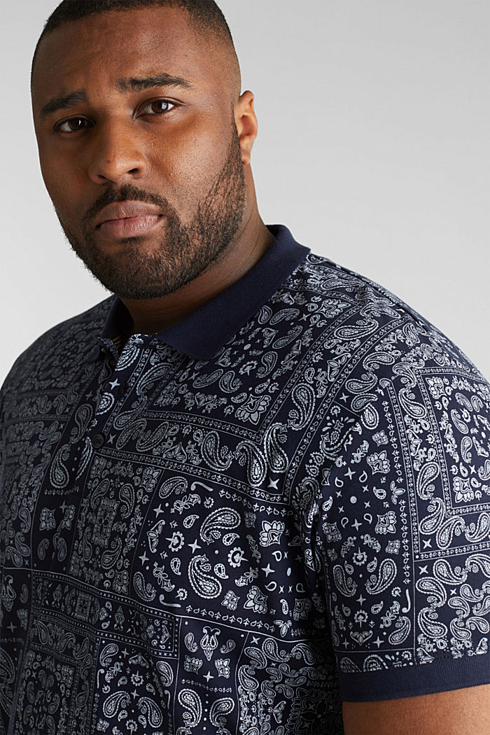 Jersey-Poloshirt mit Bandana-Print, 100% Baumwolle, NAVY, detail image number 5