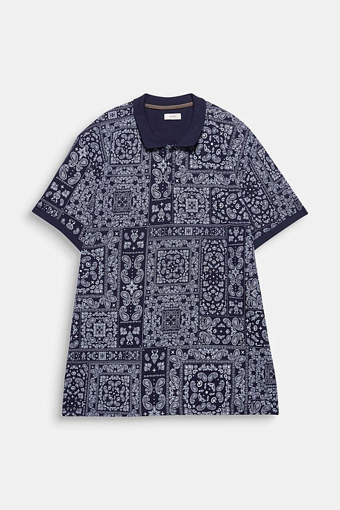 Jersey polo shirt with a bandana print, 100% cotton