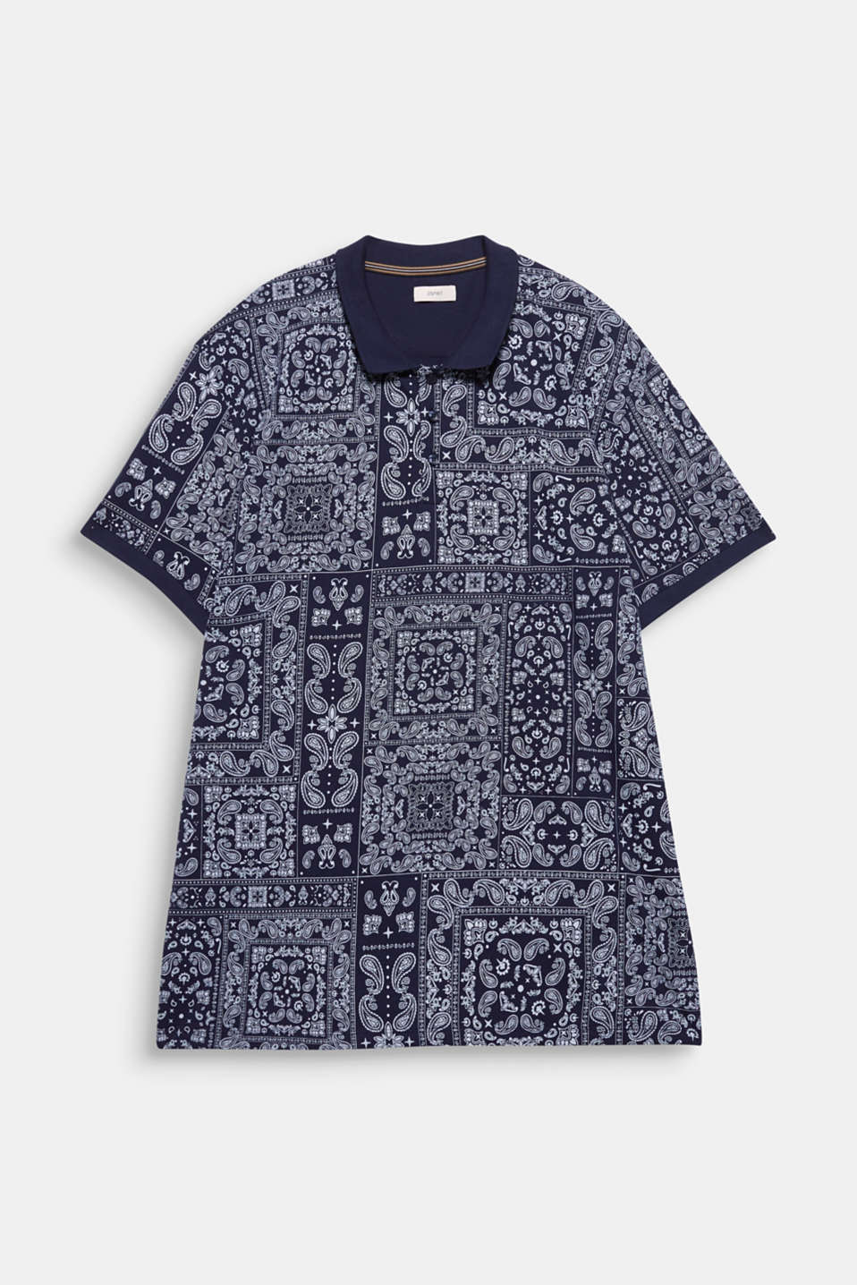 Jersey polo shirt with a bandana print, 100% cotton, NAVY 4, detail image number 6