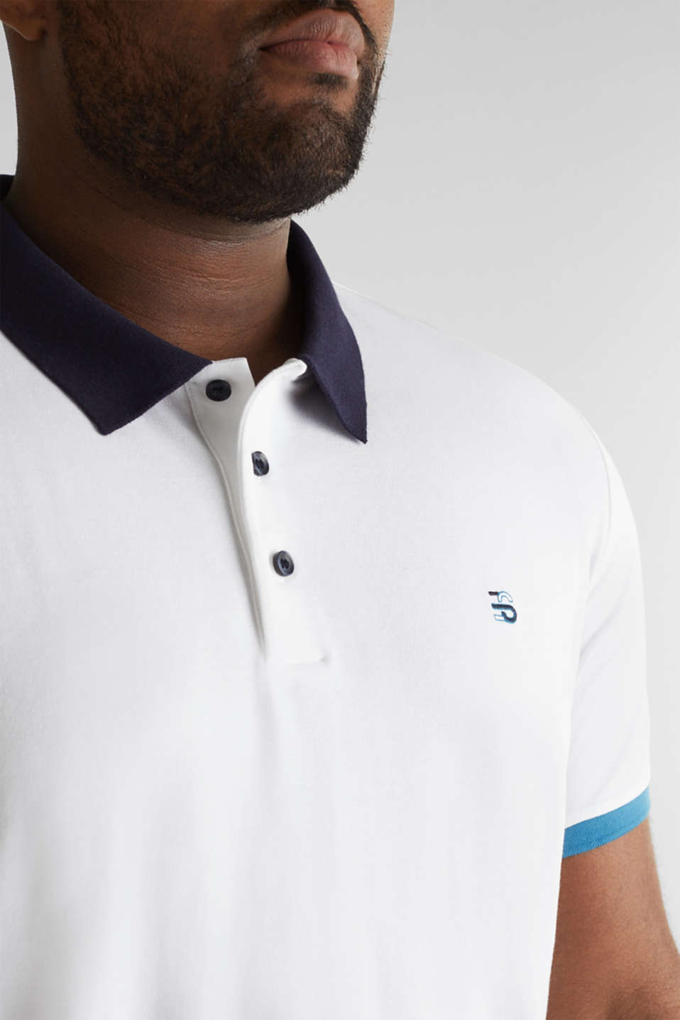 Piqué polo shirt in 100% cotton, WHITE 2, detail image number 1