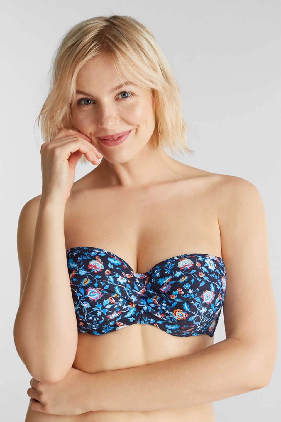 Padded underwire top for large cup sizes, INK, detail image number 2