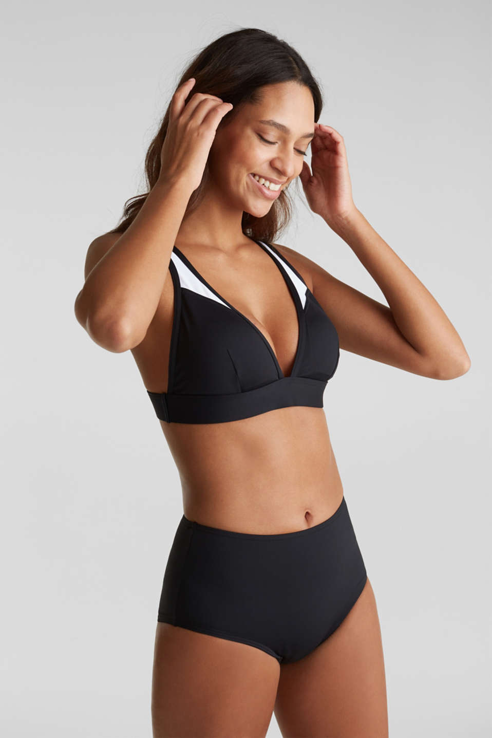 Padded top in a colour block style, BLACK, detail image number 0