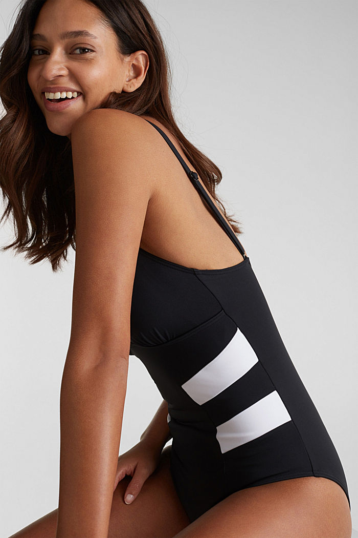 Shaping swimsuit in a colour block look, BLACK, detail image number 3
