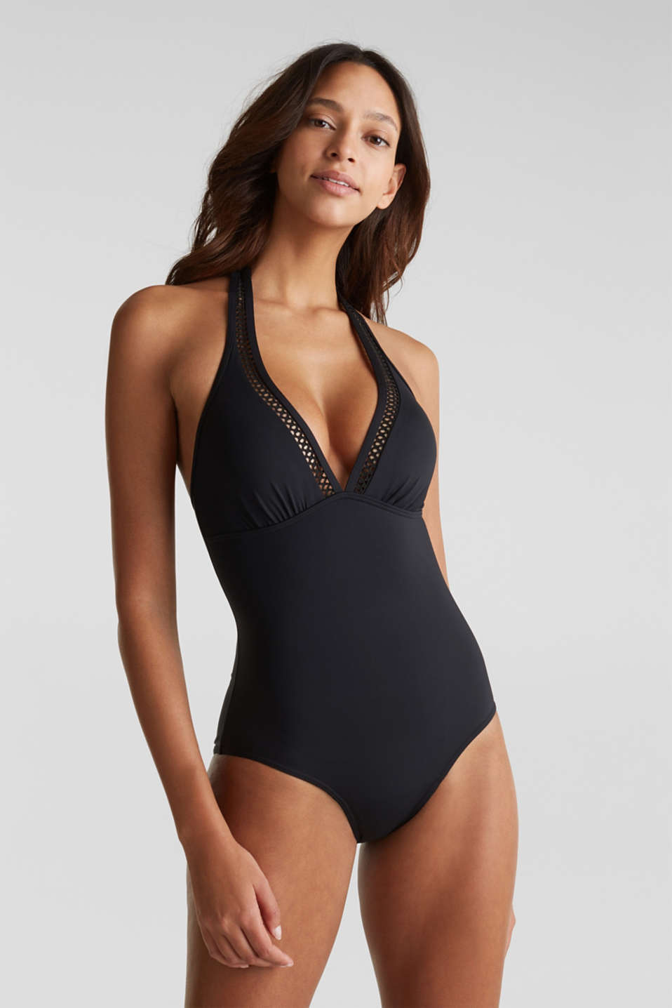 Esprit - Padded swimsuit with crocheted lace