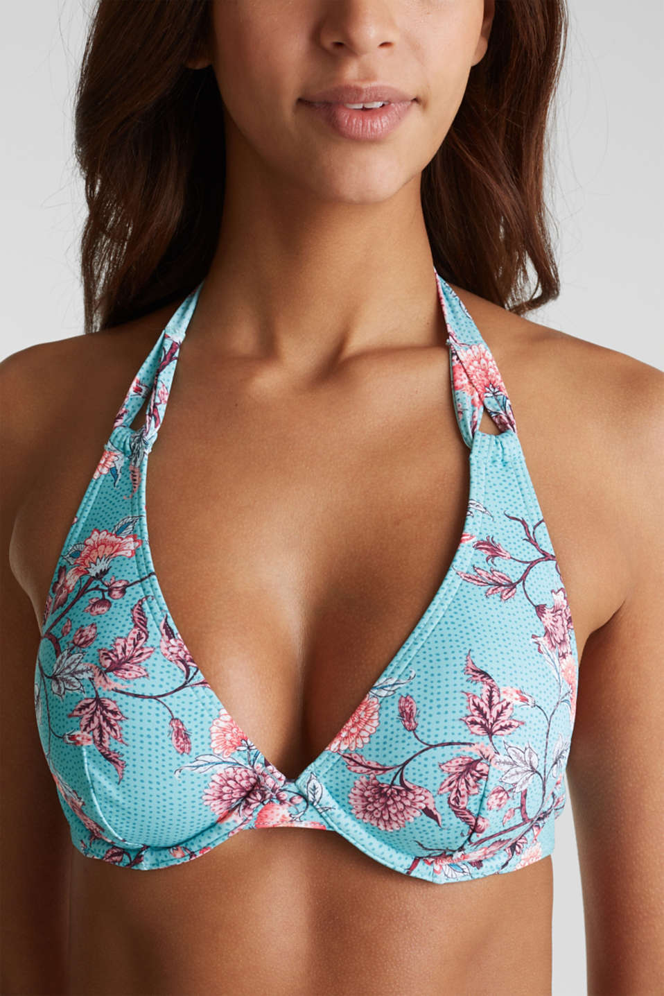 Unpadded underwire bikini top with floral tendrils, TURQUOISE, detail image number 2