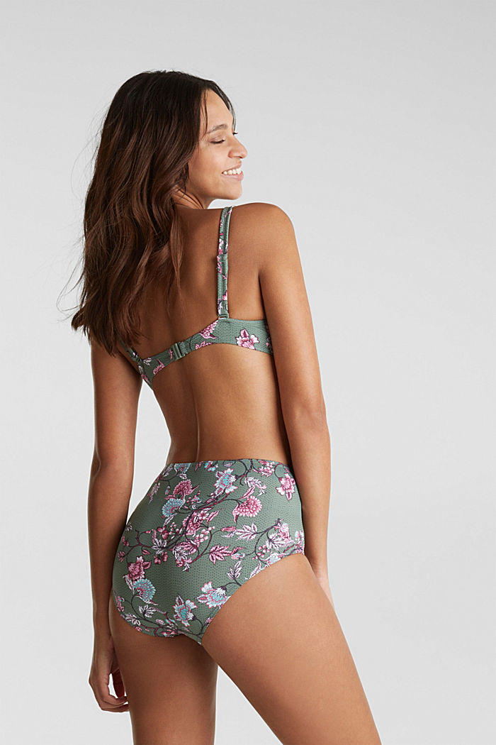 Unpadded underwire top with flowers, LIGHT KHAKI, detail image number 1