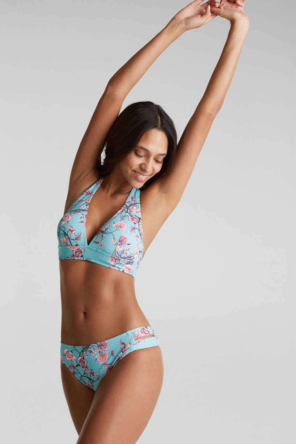 Padded, non-wired bikini top with floral tendrils, TURQUOISE, detail image number 0