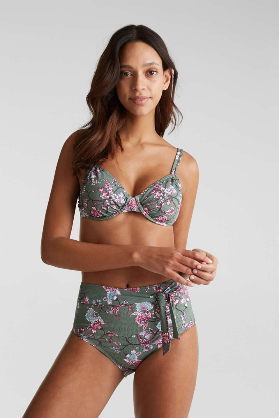 High-waisted briefs with floral tendrils, LIGHT KHAKI, detail image number 0