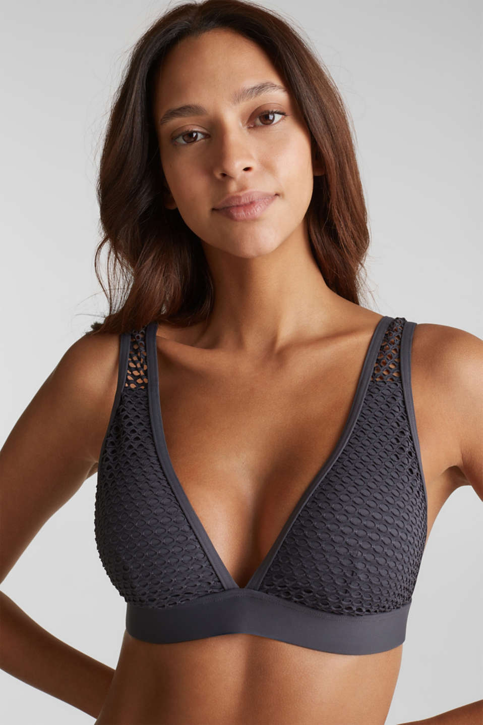 Esprit - Padded non-wired bikini top made of mesh