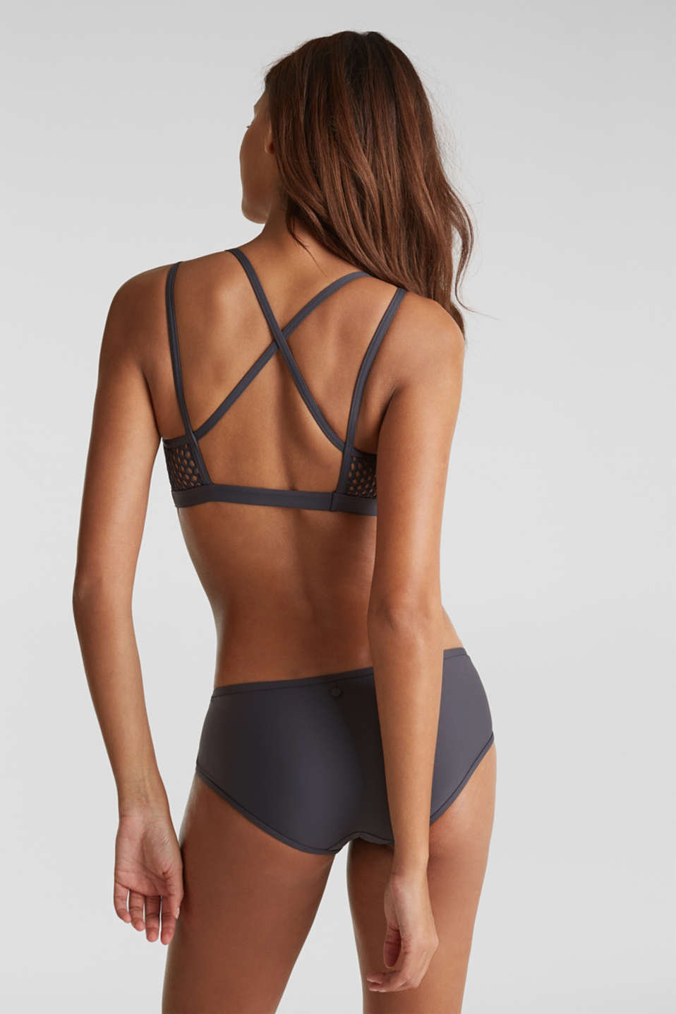 Padded non-wired bikini top with mesh details, ANTHRACITE, detail image number 1