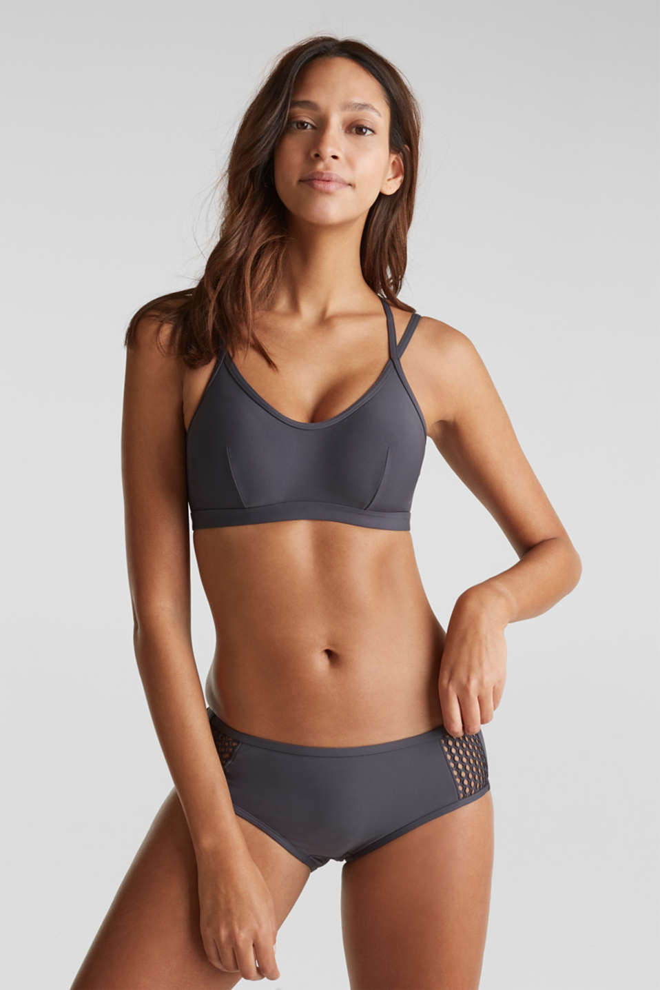 Padded non-wired bikini top with mesh details, ANTHRACITE, detail image number 2