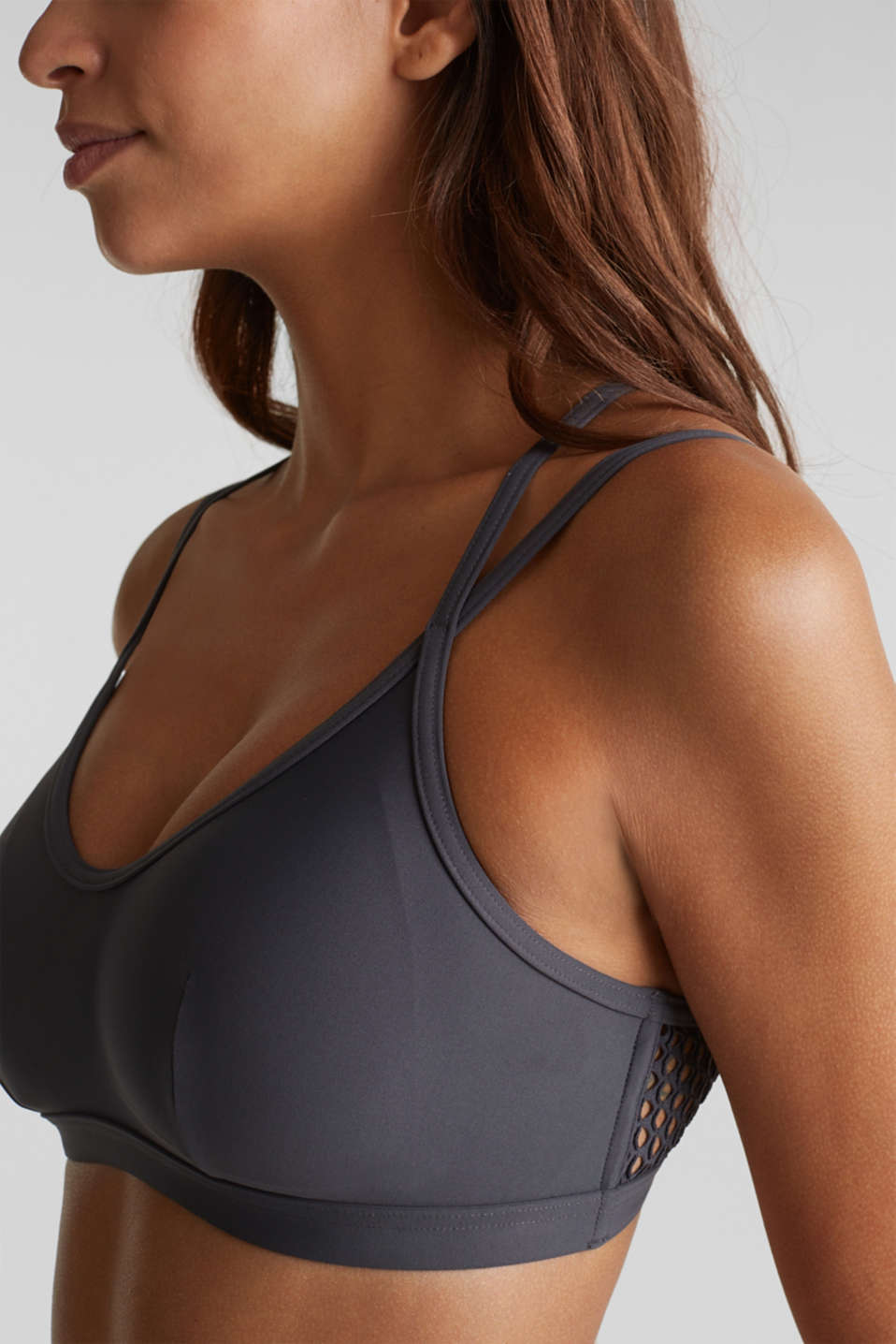 Padded non-wired bikini top with mesh details, ANTHRACITE, detail image number 3