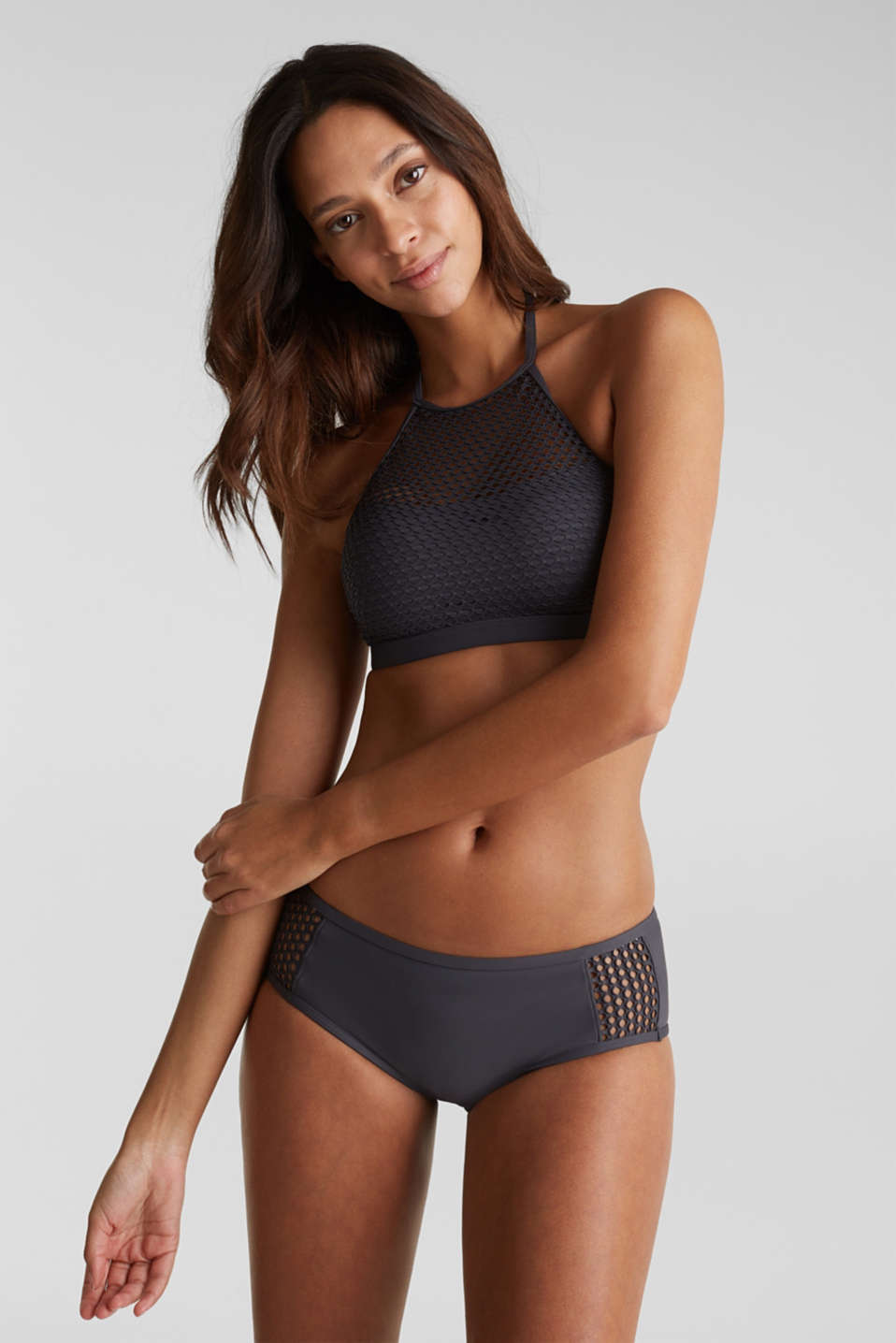 Padded mesh crop top, ANTHRACITE, detail image number 0