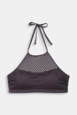 Padded mesh crop top, ANTHRACITE, detail