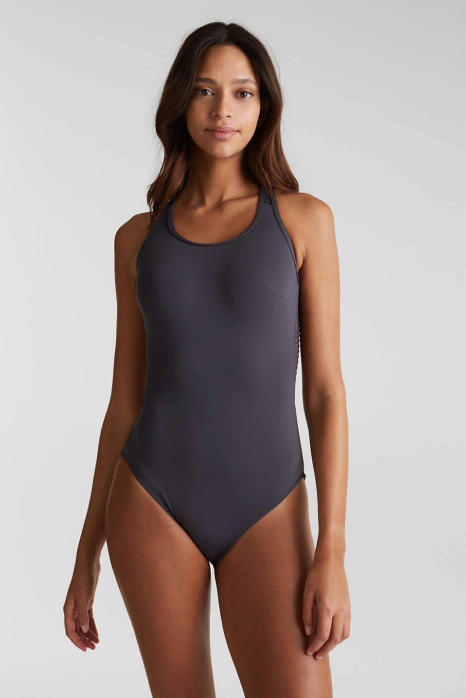 Swimsuit with mesh details, ANTHRACITE, detail image number 0