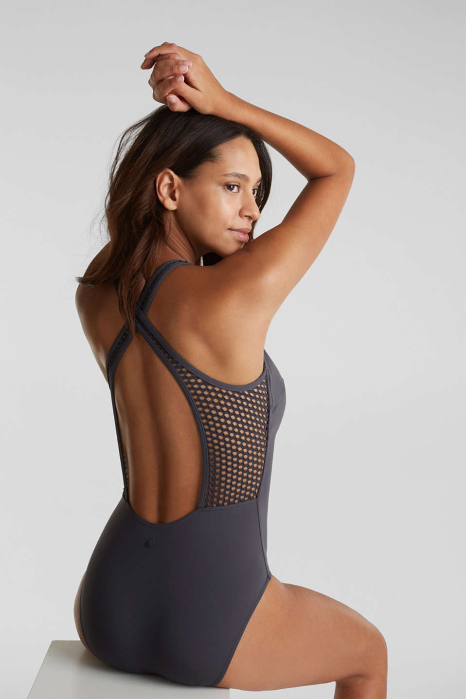 Swimsuit with mesh details, ANTHRACITE, detail image number 1