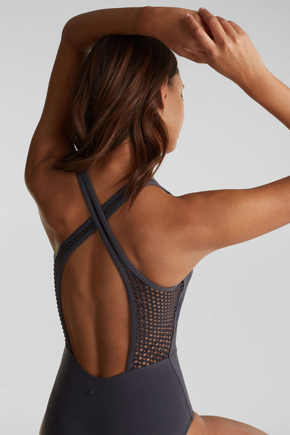Swimsuit with mesh details, ANTHRACITE, detail image number 2