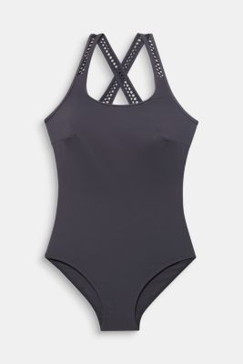 Swimsuit with mesh details, ANTHRACITE, detail