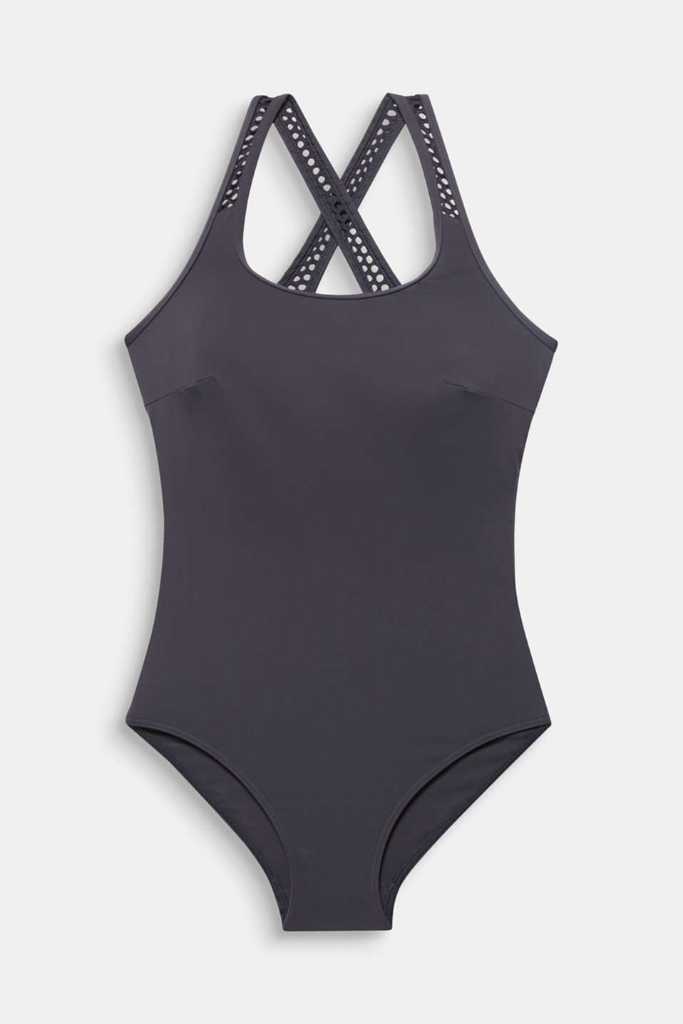 Swimsuit with mesh details, ANTHRACITE, detail image number 3