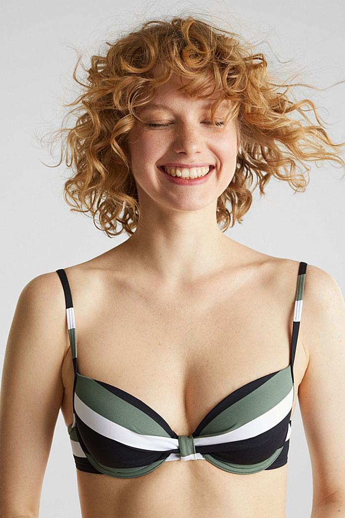 Padded underwire top with stripes, LIGHT KHAKI, detail image number 0