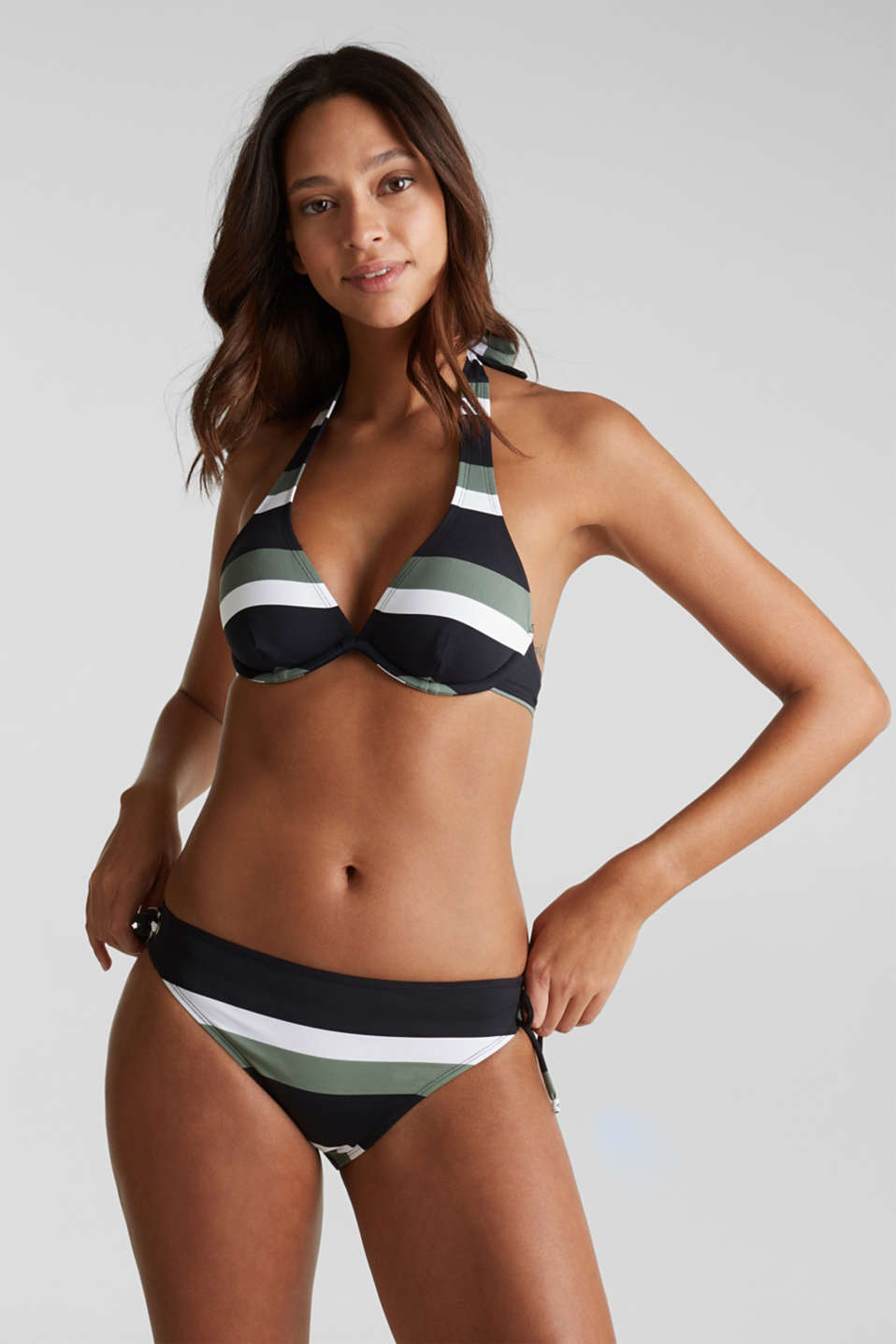 Unpadded underwire bikini top with block stripes, LIGHT KHAKI, detail image number 0