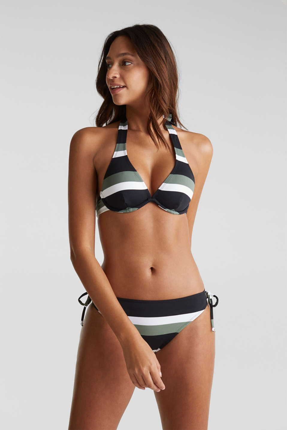 Unpadded underwire bikini top with block stripes, LIGHT KHAKI, detail image number 2