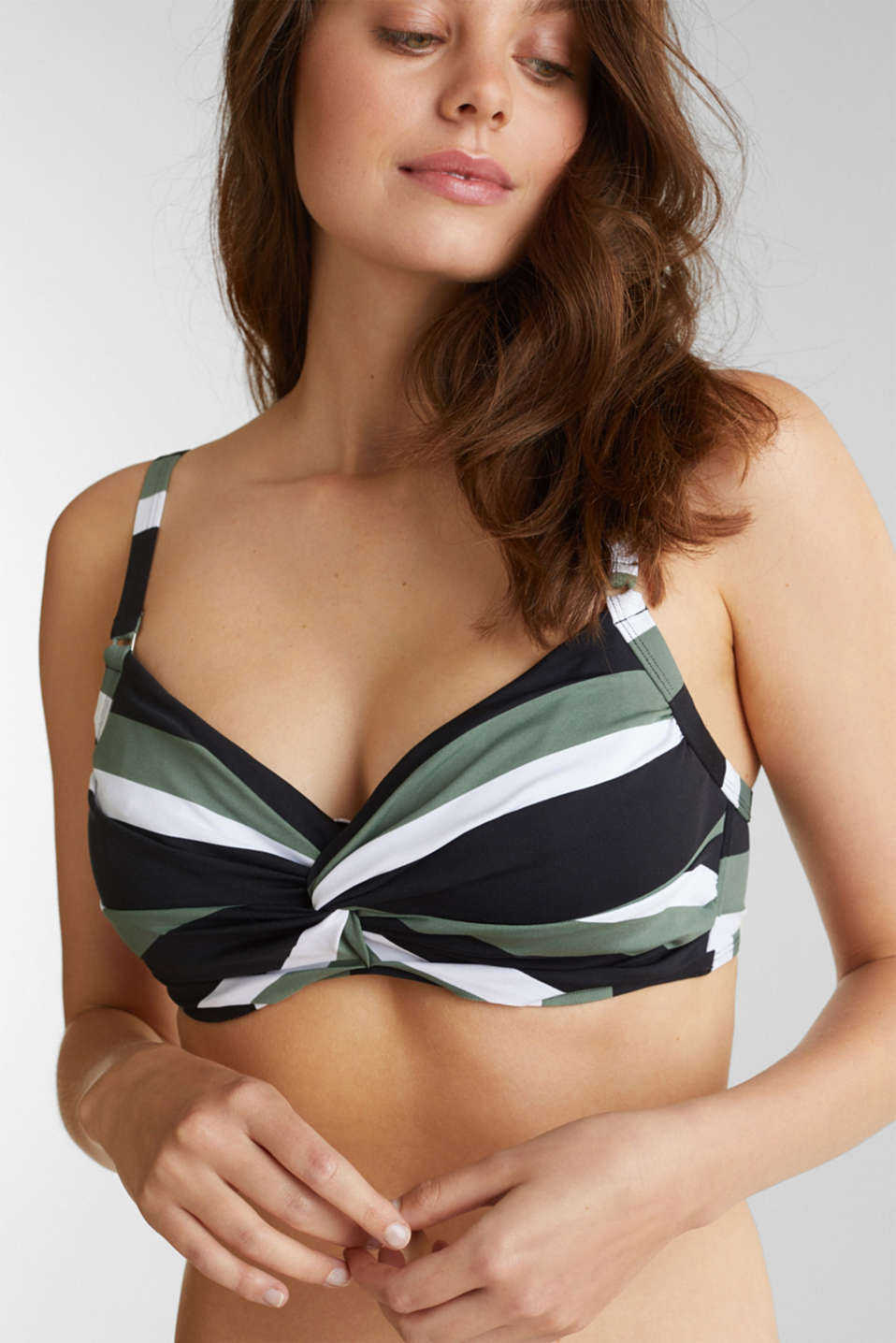 Unpadded underwire bikini top with block stripes, LIGHT KHAKI, detail image number 0