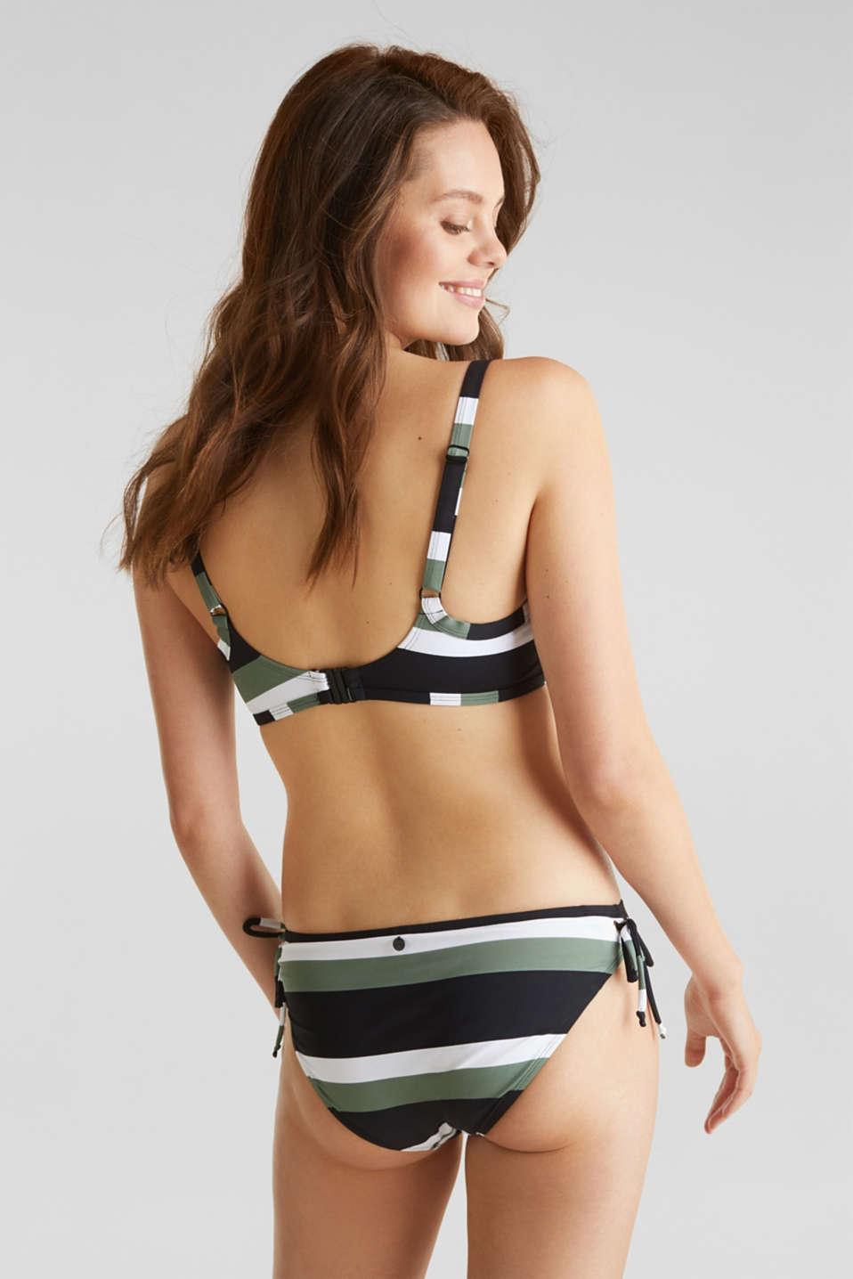 Unpadded underwire bikini top with block stripes, LIGHT KHAKI, detail image number 1