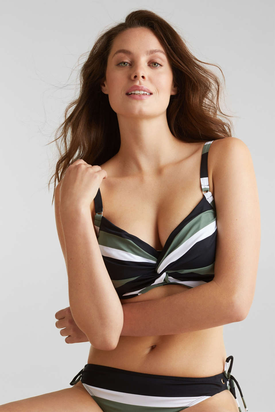 Unpadded underwire bikini top with block stripes, LIGHT KHAKI, detail image number 2