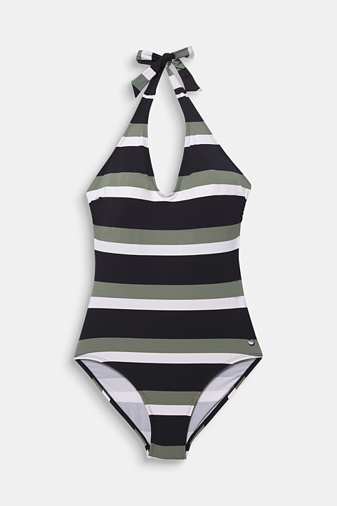 Halterneck swimsuit with block stripes