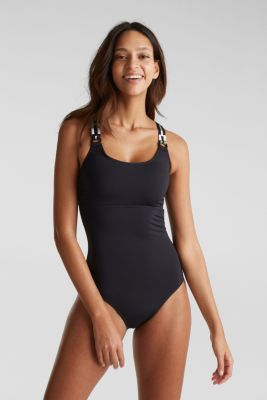 Unpadded swimsuit with multi-way straps, BLACK, detail
