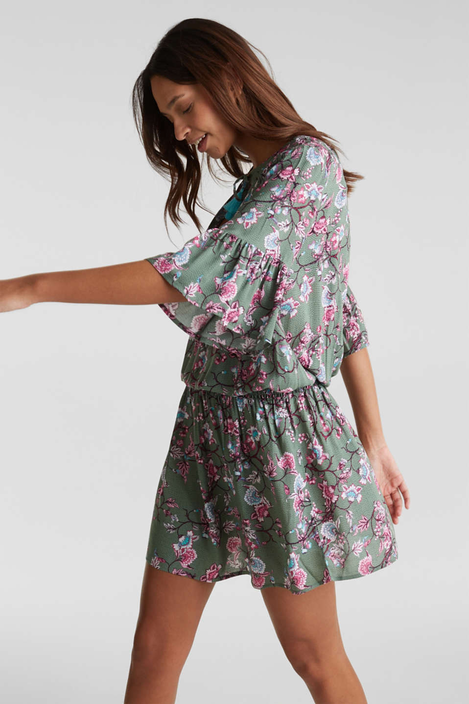 Esprit - Mini dress with print and tassels