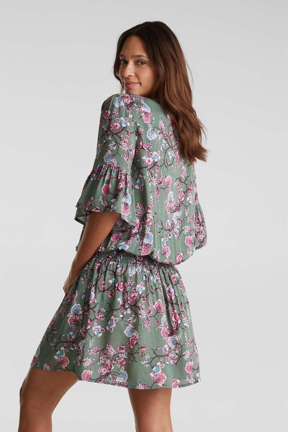 Mini dress with print and tassels, LIGHT KHAKI, detail image number 1
