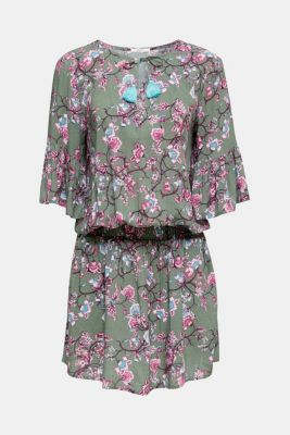 Mini dress with print and tassels, LIGHT KHAKI, detail