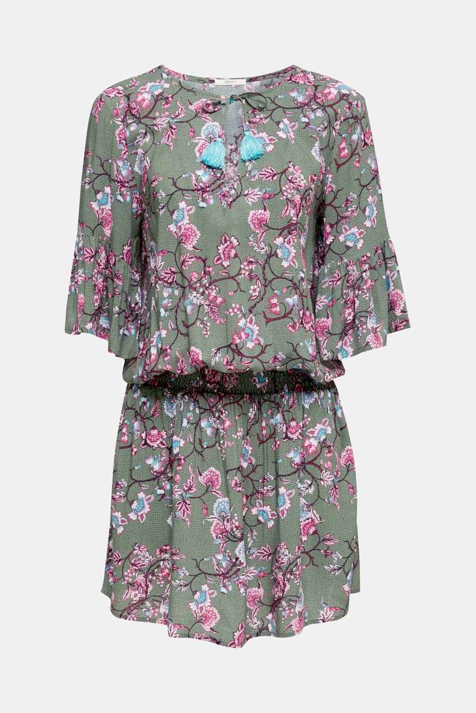 Mini dress with print and tassels, LIGHT KHAKI, detail image number 2