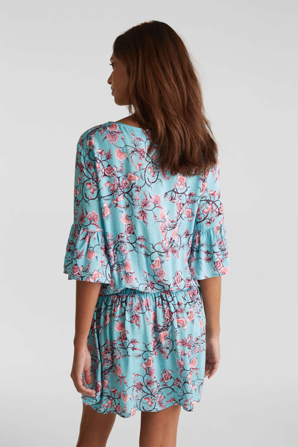Mini dress with print and tassels, TURQUOISE, detail image number 1