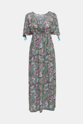 Maxi dress with tassels and a print, LIGHT KHAKI, detail