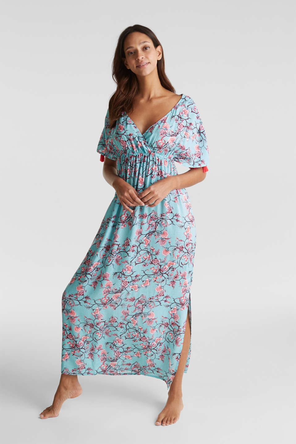 Maxi dress with tassels and a print, TURQUOISE, detail image number 0