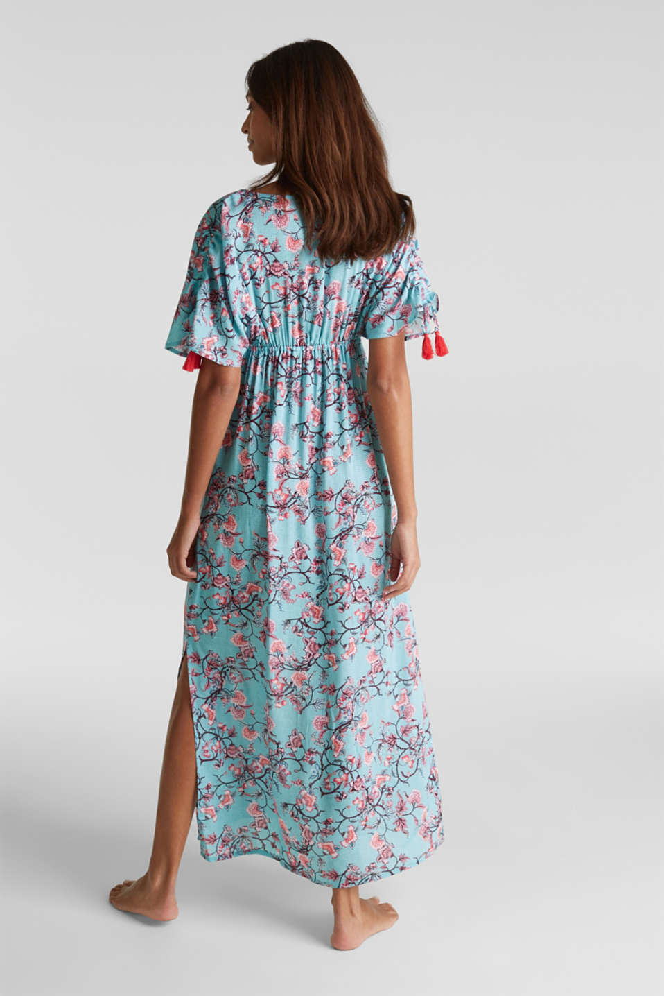 Maxi dress with tassels and a print, TURQUOISE, detail image number 1
