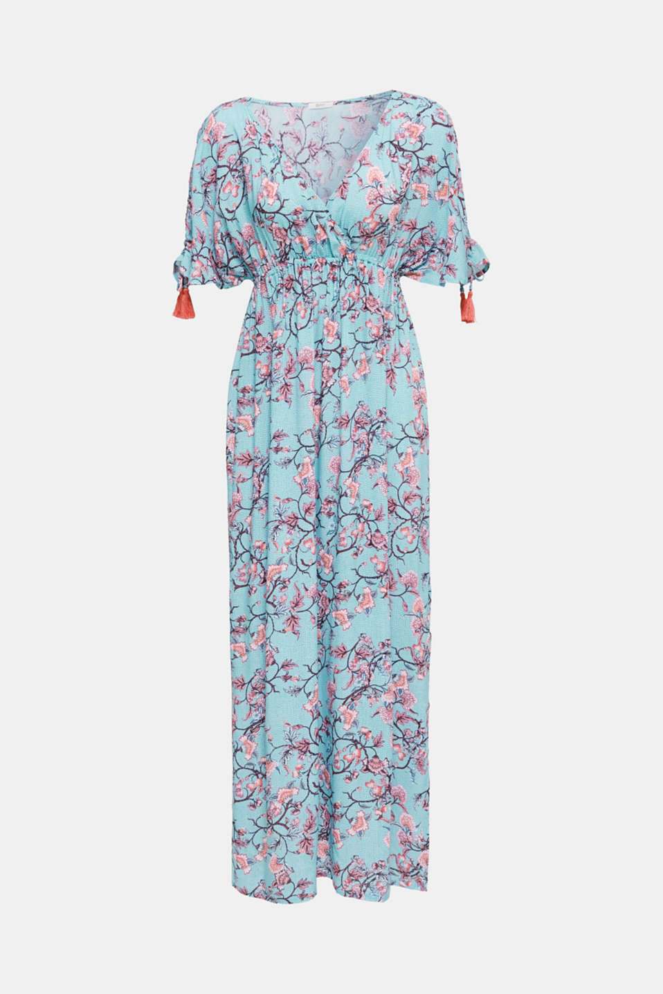 Maxi dress with tassels and a print, TURQUOISE, detail image number 2