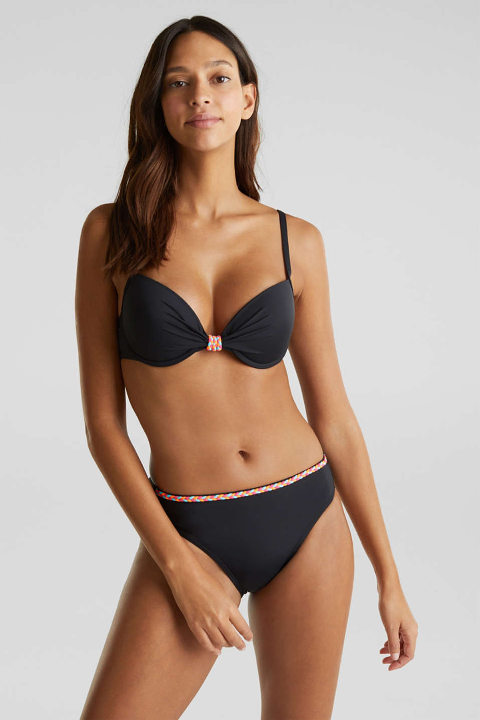 Esprit - Top push up con detalles trenzados