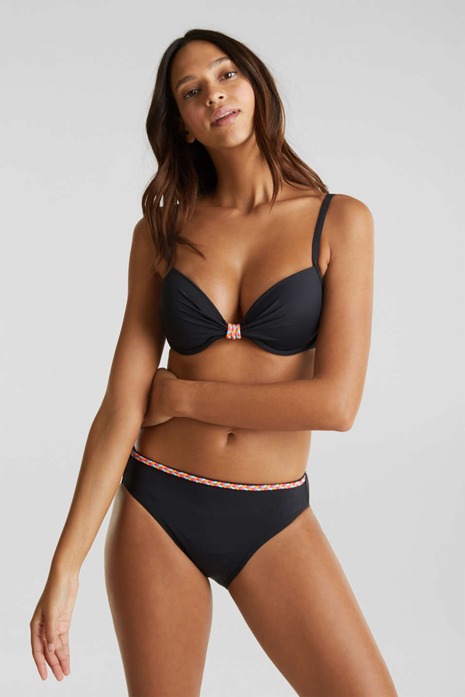 Midi bikini bottoms with a multi-colour trim, BLACK, detail image number 0