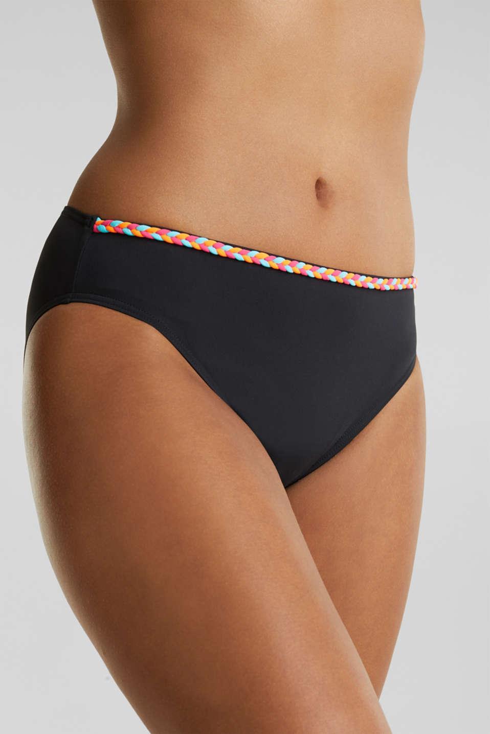 Midi bikini bottoms with a multi-colour trim, BLACK, detail image number 1