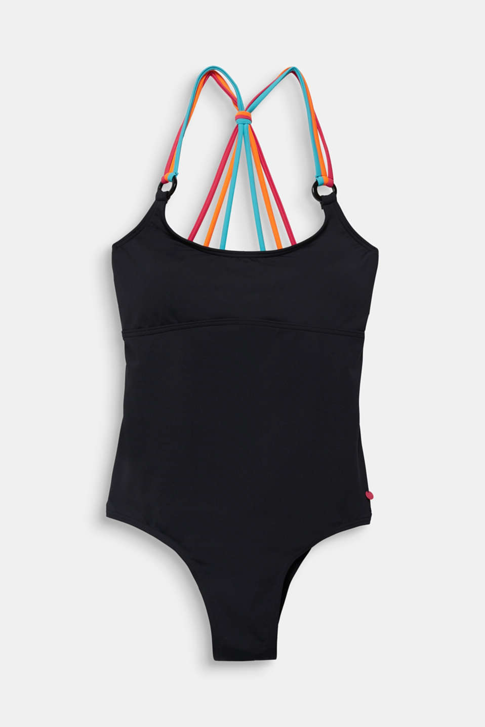 Padded swimsuit with triple straps, BLACK, detail image number 4