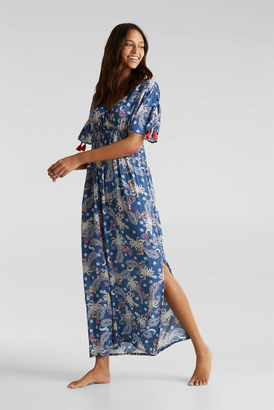 Maxi dress with tassels and a print, GREY BLUE, detail image number 0