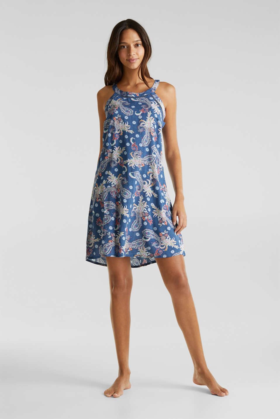 Print dress with embroidered trims, GREY BLUE, detail image number 0