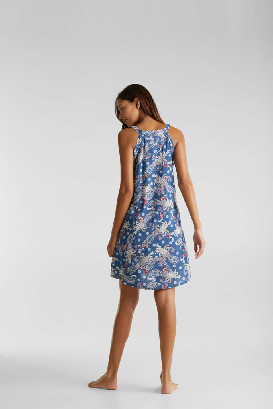 Print dress with embroidered trims, GREY BLUE, detail image number 1