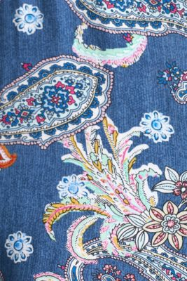 Print dress with embroidered trims, GREY BLUE, detail